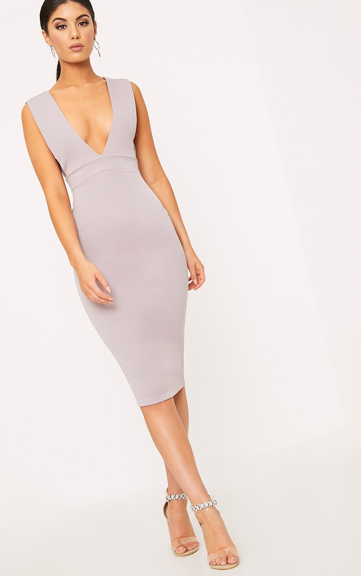 Lilac Grey Strap Side Plunge Midi Dress 4