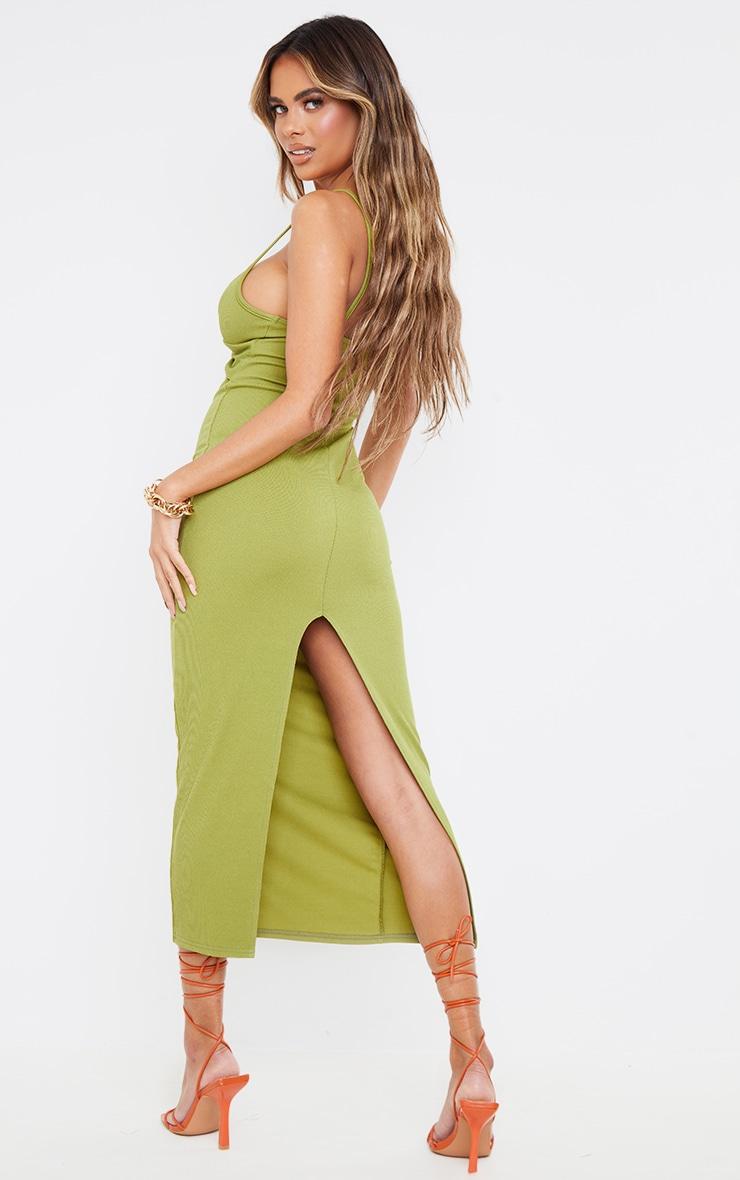 Olive Rib Twist Front Detail Strappy Midaxi Dress 2