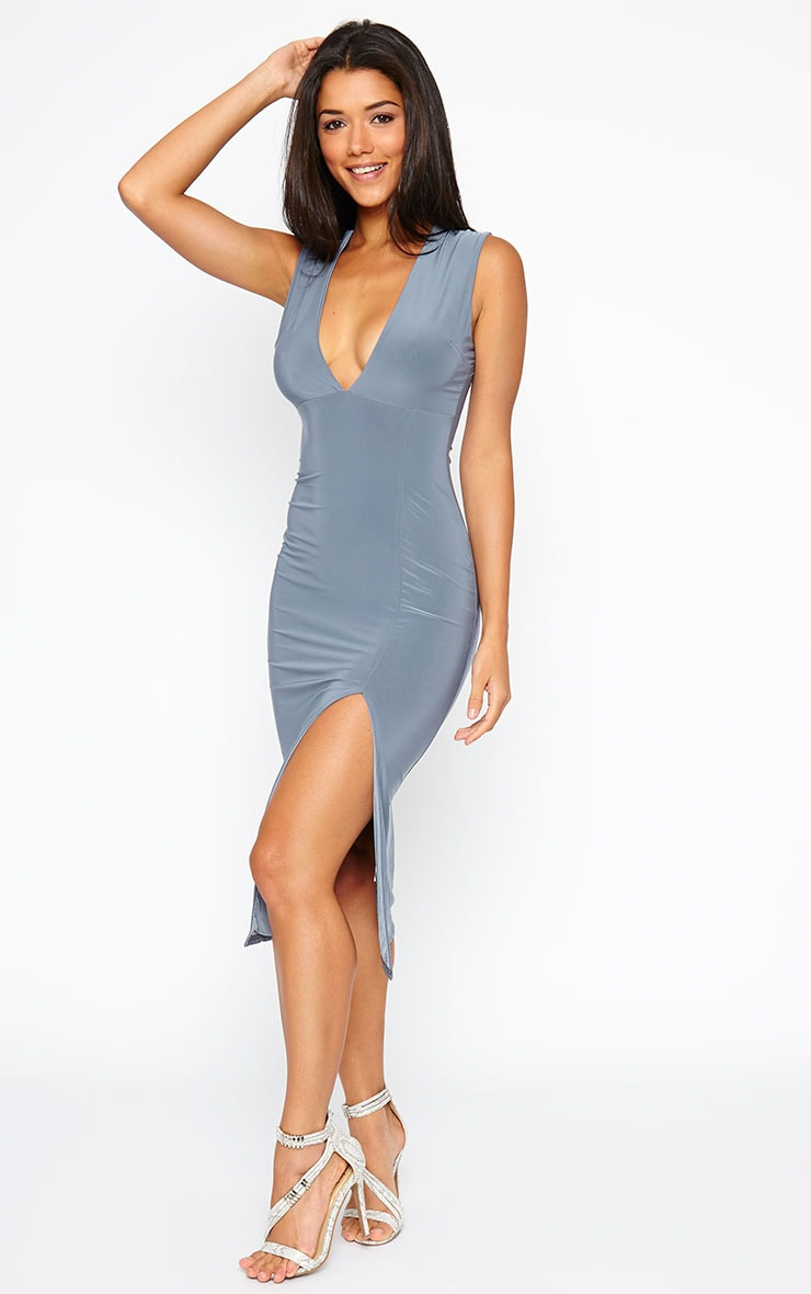 Christa Grey Sleeveless Plunge Front Midi Dress 1