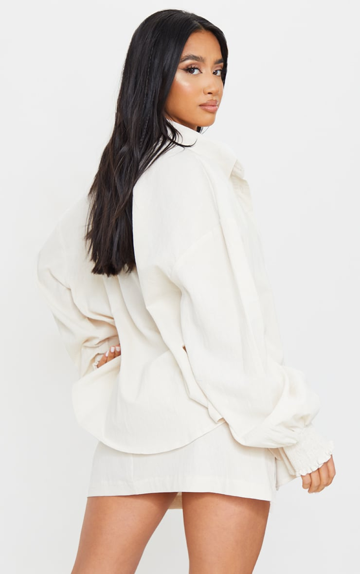 Petite Stone Oversized Shirred Cuff Linen Feel Shirt 2