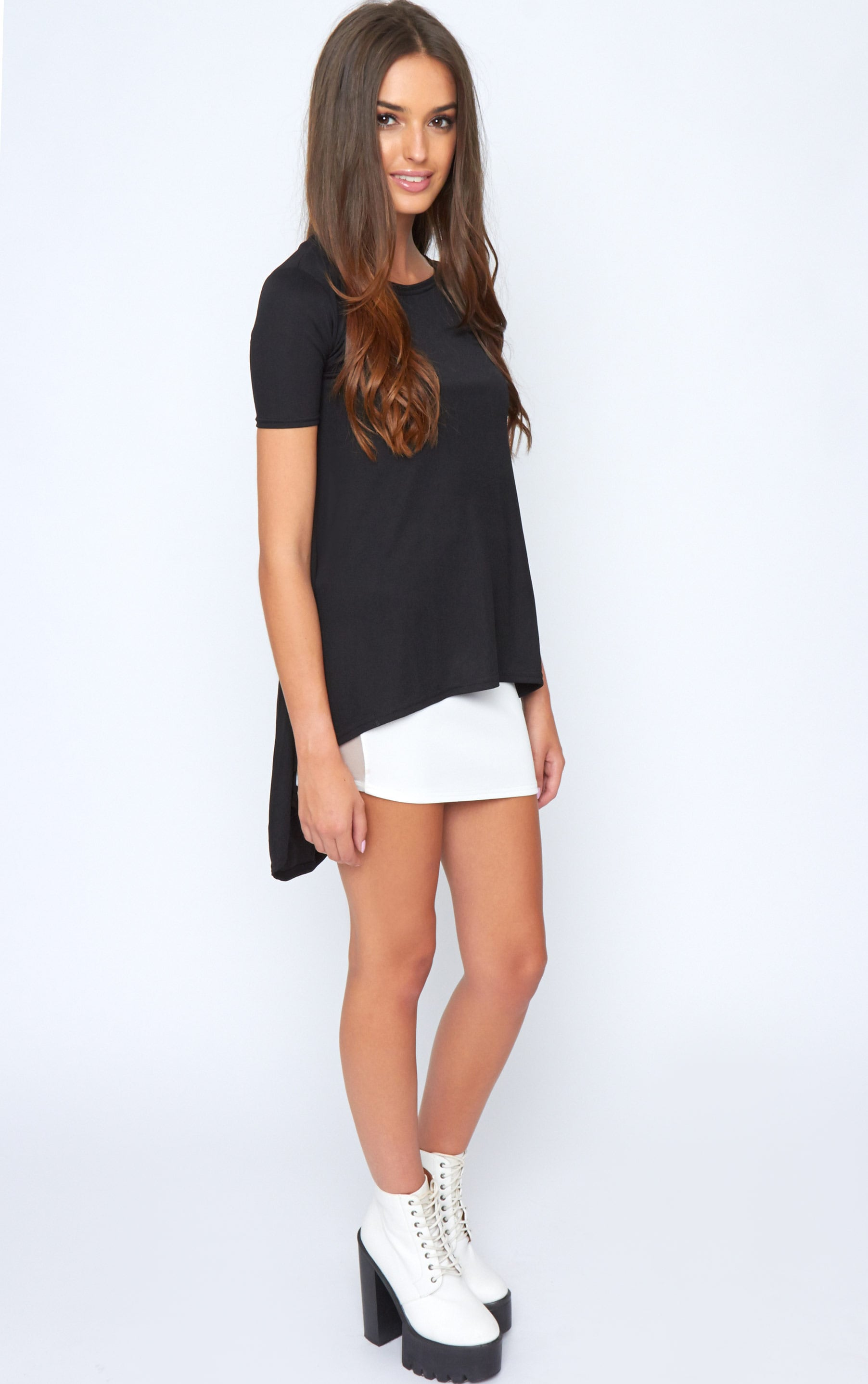 Roya Black Split Dip Hem Top 3