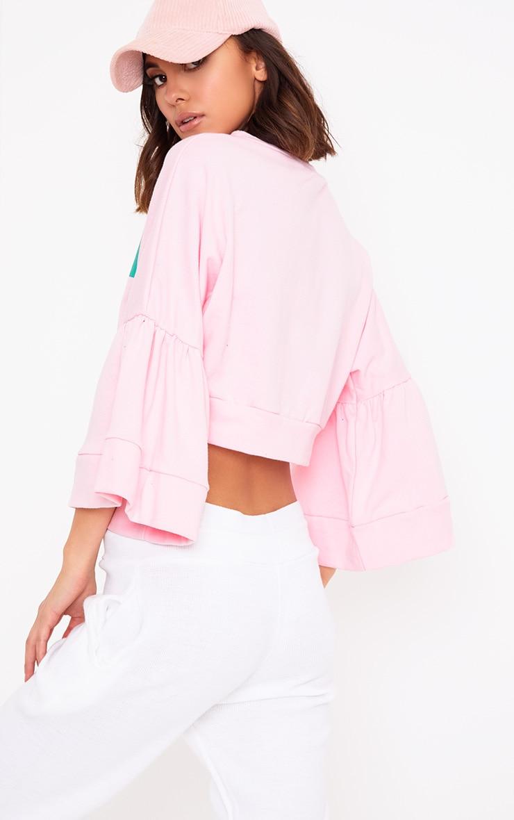 Baby Pink Romance Slogan Balloon Sleeve Cropped Sweater  2
