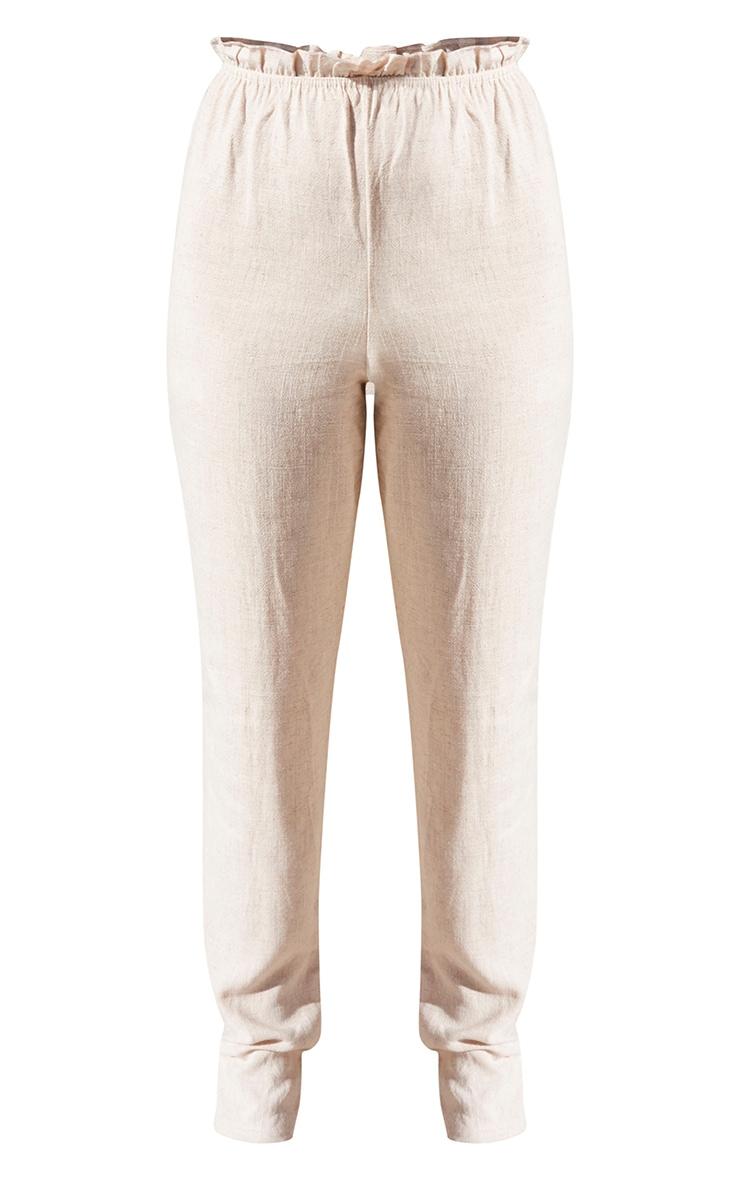 Stone Linen Feel Paperbag Waist Straight Leg Trouser 5