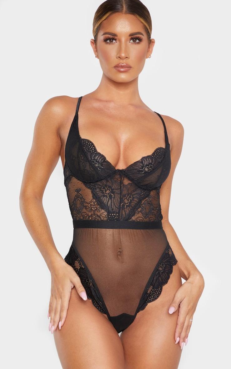 Body noir en mesh et dentelle à bretelles larges 1