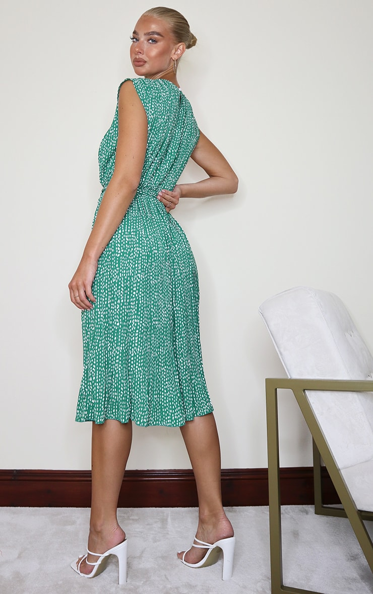 Green Dalmatian Print Pleated Sleeveless Midi Dress 2