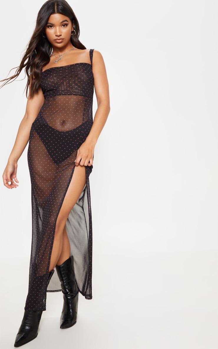 Black Polka Dot Sheer Mesh Strappy Split Maxi Dress 1