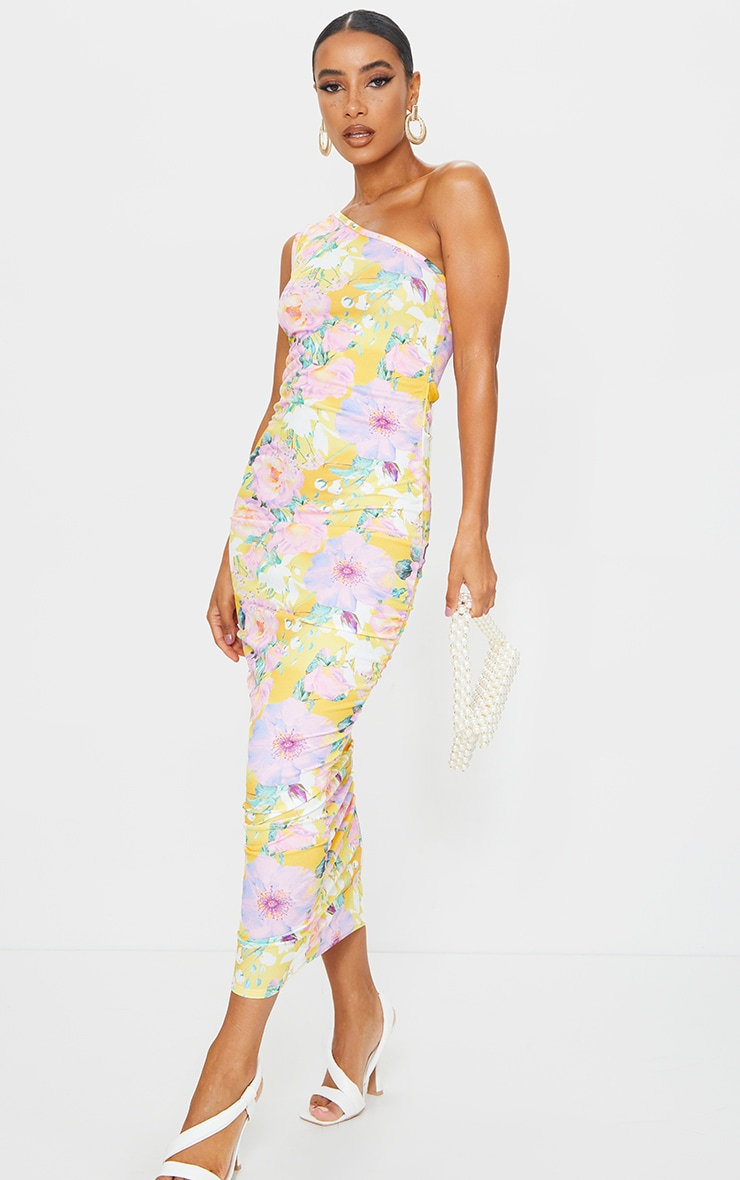 Yellow Floral One Shoulder Ruched Midi Dress 1
