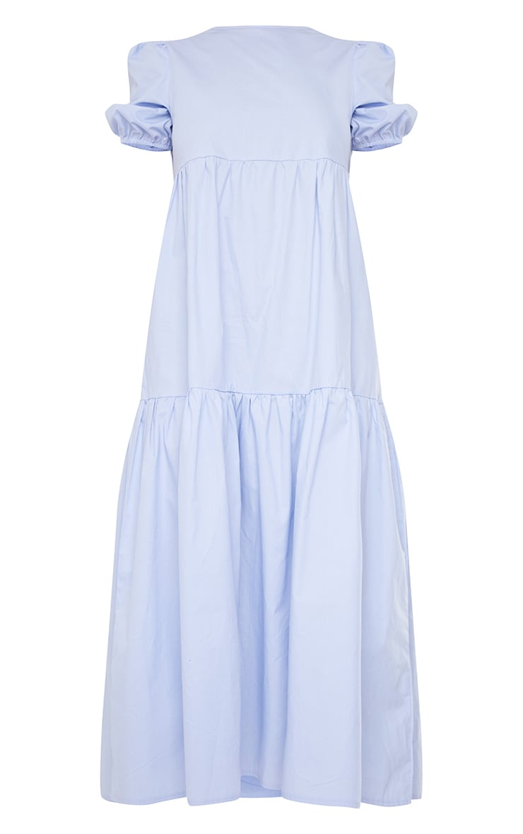 Blue Cotton Tiered Drop Hem Short Sleeve Midi Smock Dress 5
