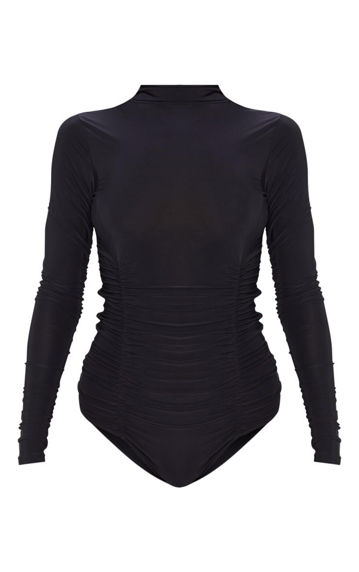 Black Slinky High Neck Ruched Bodysuit 3