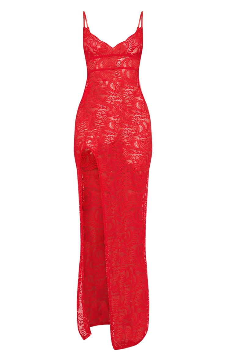 Red Sheer Lace Strappy Back Lace Maxi Dress 3