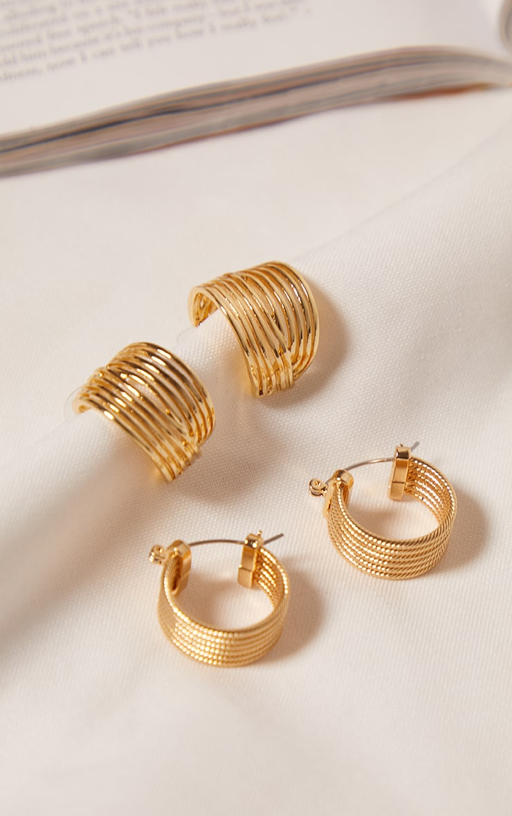 Gold Two Pack Ribbed Hoop Earrings 3