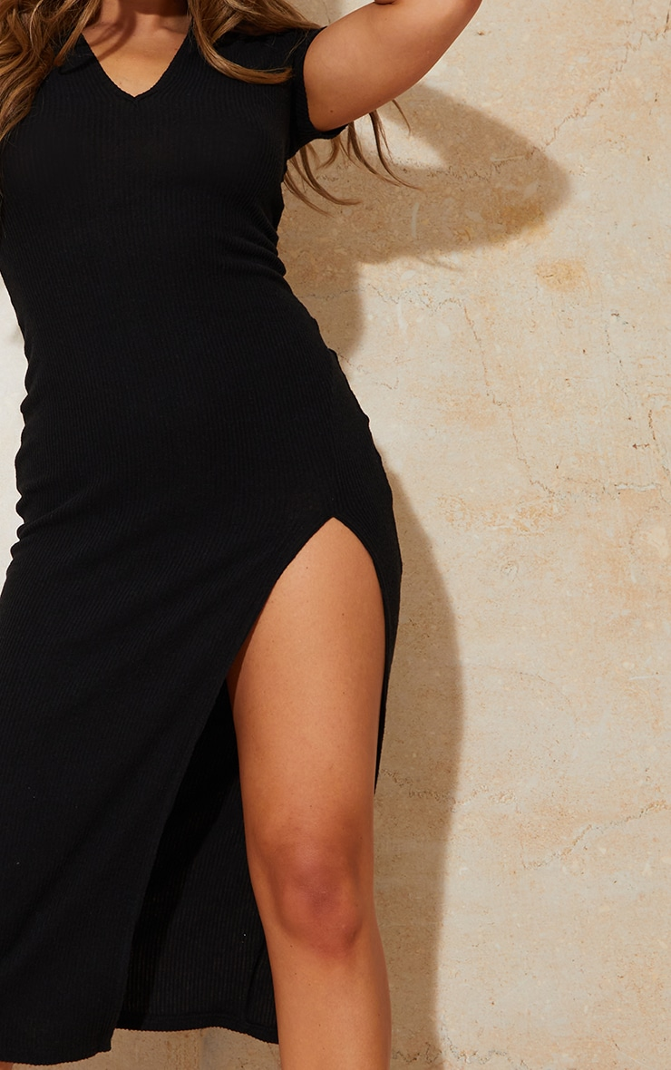 Black Short Sleeve Brushed Rib Open Back Detail Midaxi Dress 4