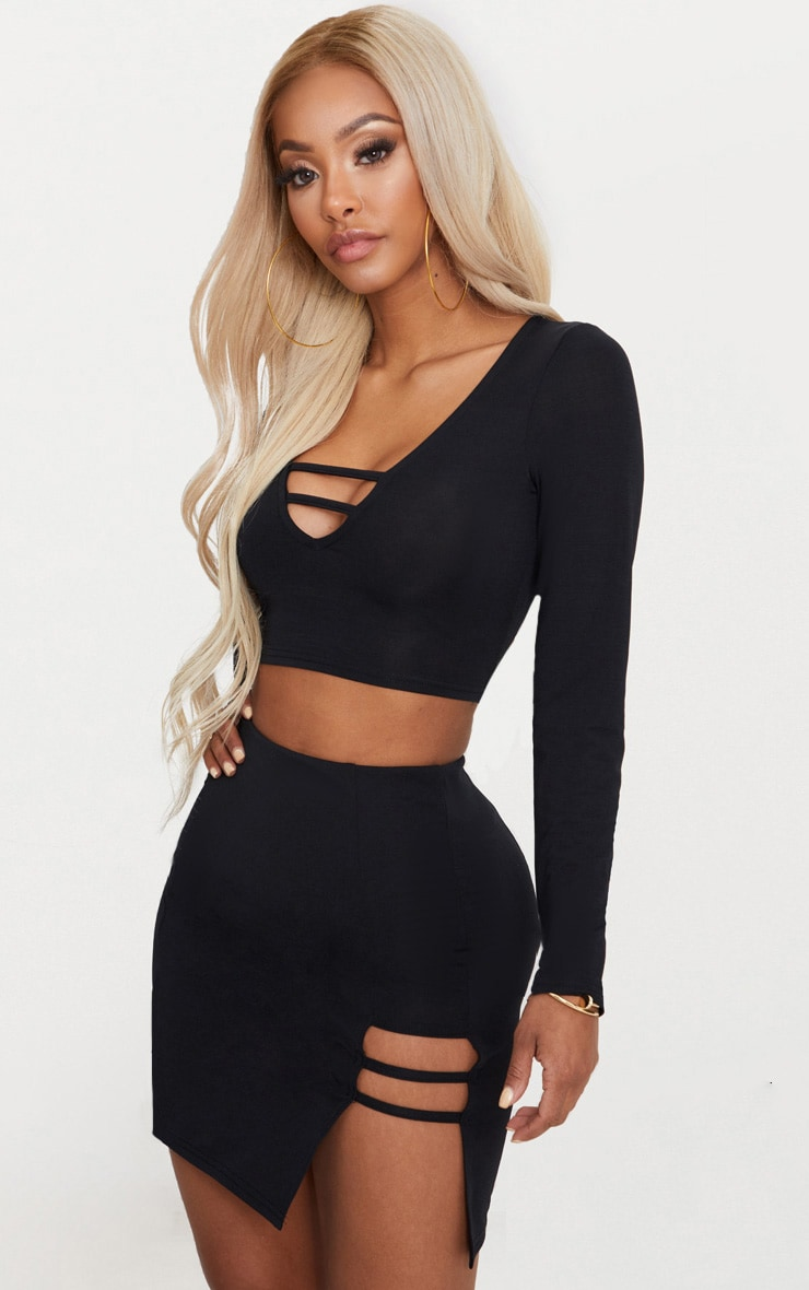 Shape Black Slinky Cut Out Detail Bodycon Skirt 1