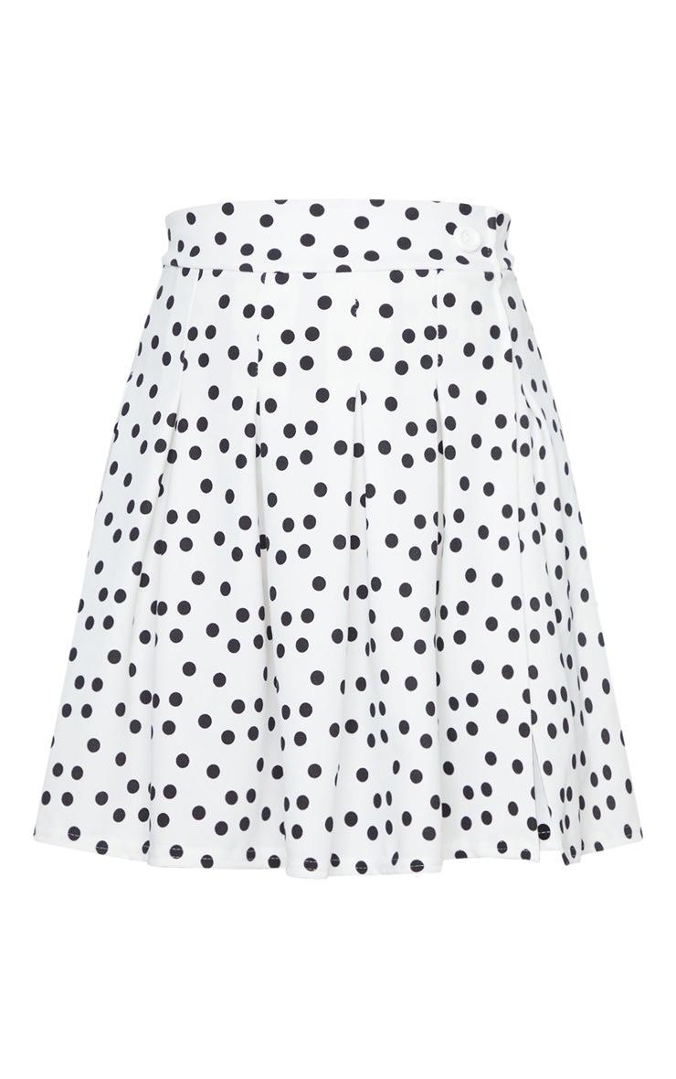 White Polka Dot Tennis Side Split Skirt 6