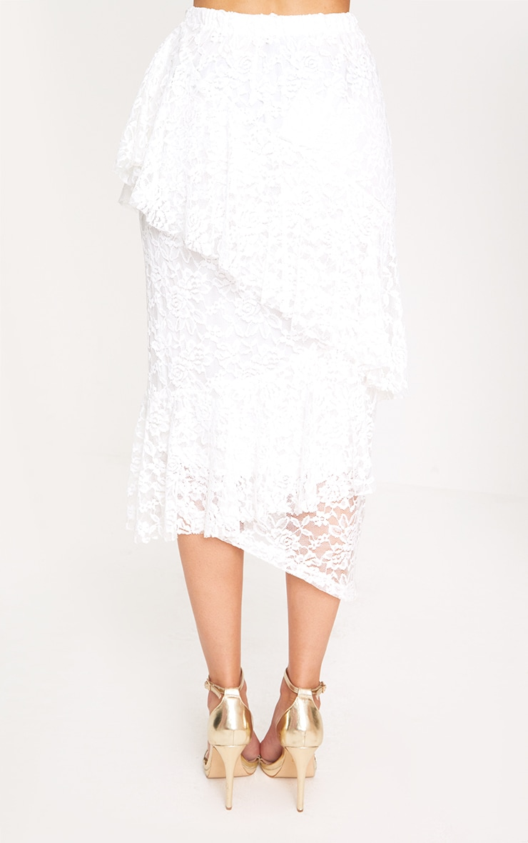 White Asymmetric Long Line Lace Midi Skirt 3
