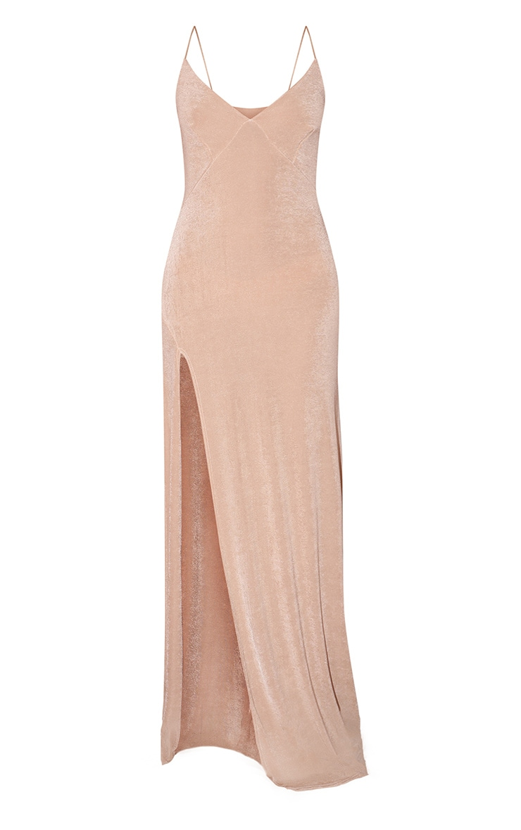 Champagne Strappy Thigh Split Maxi Dress 3