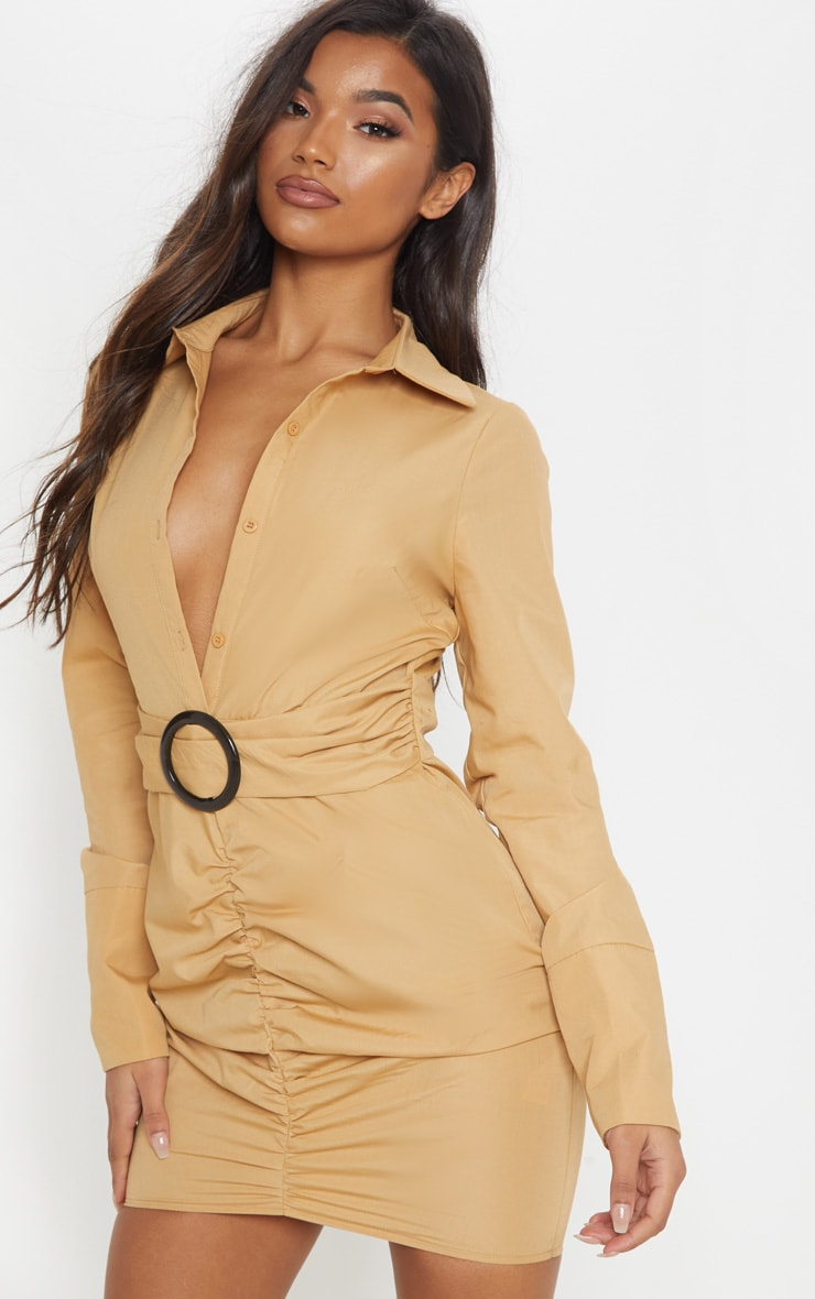 271a639777c36 Camel Plunge Ruched Tortoise Belted Bodycon Shirt Dress image 1