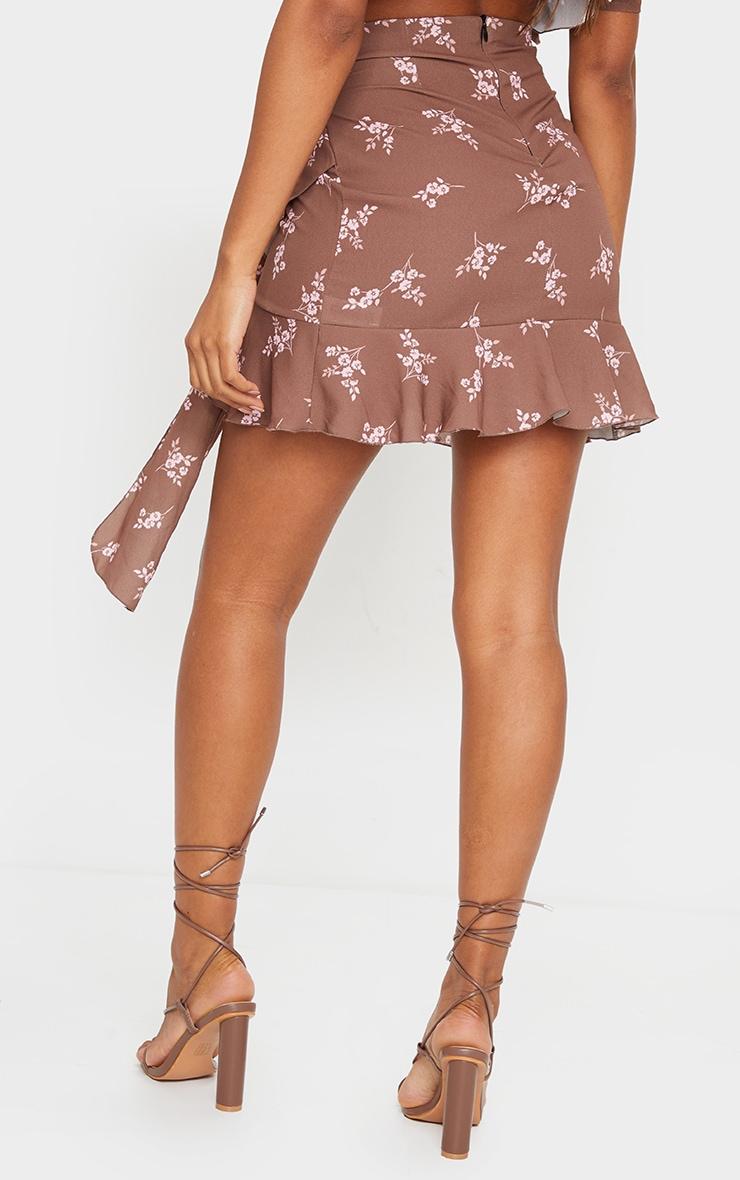 Brown Floral Print Tie Detail Frill Edge Wrap Mini Skirt 3
