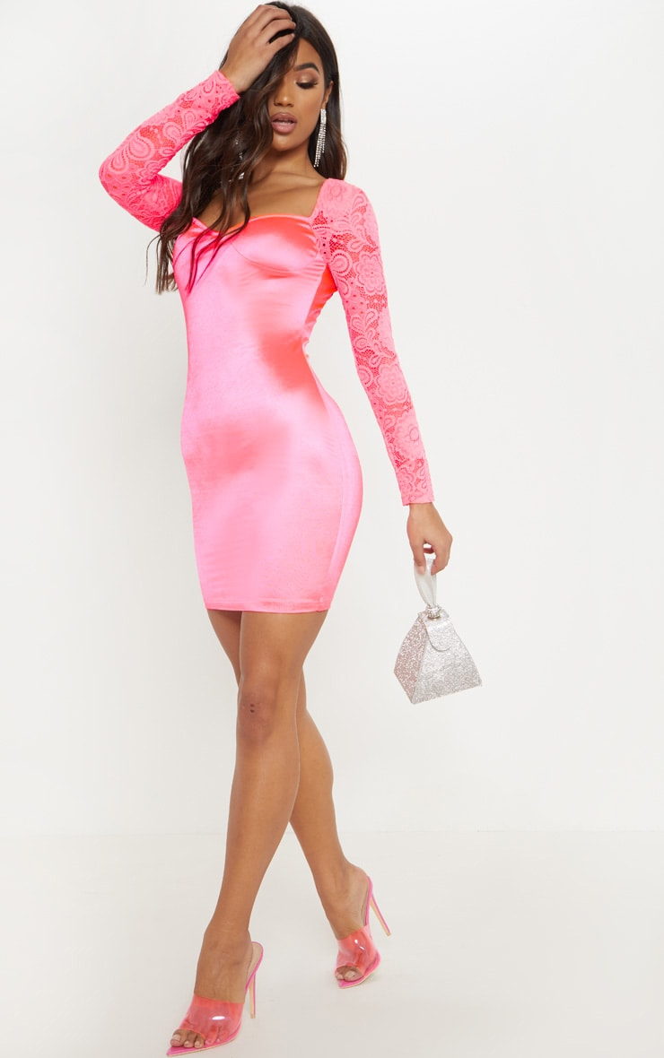 Hot Pink Satin Lace Sleeve Bodycon Dress 4
