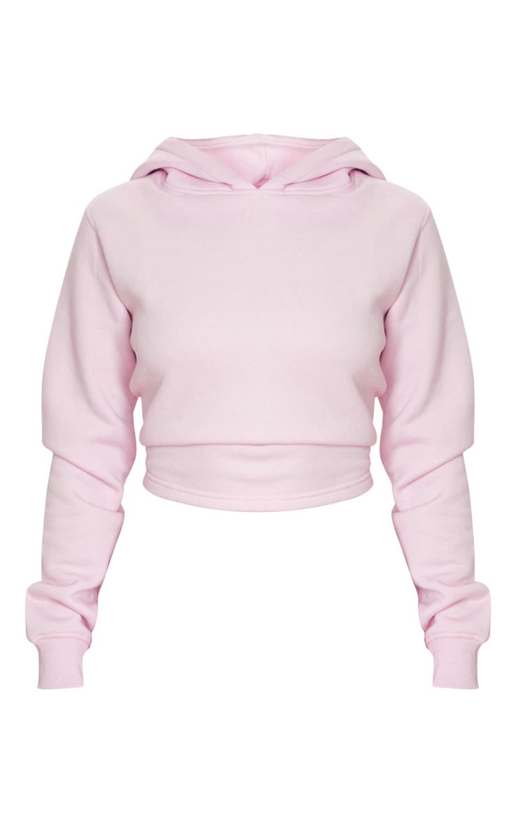 Baby Pink Lace Up Back Crop Hoodie 5