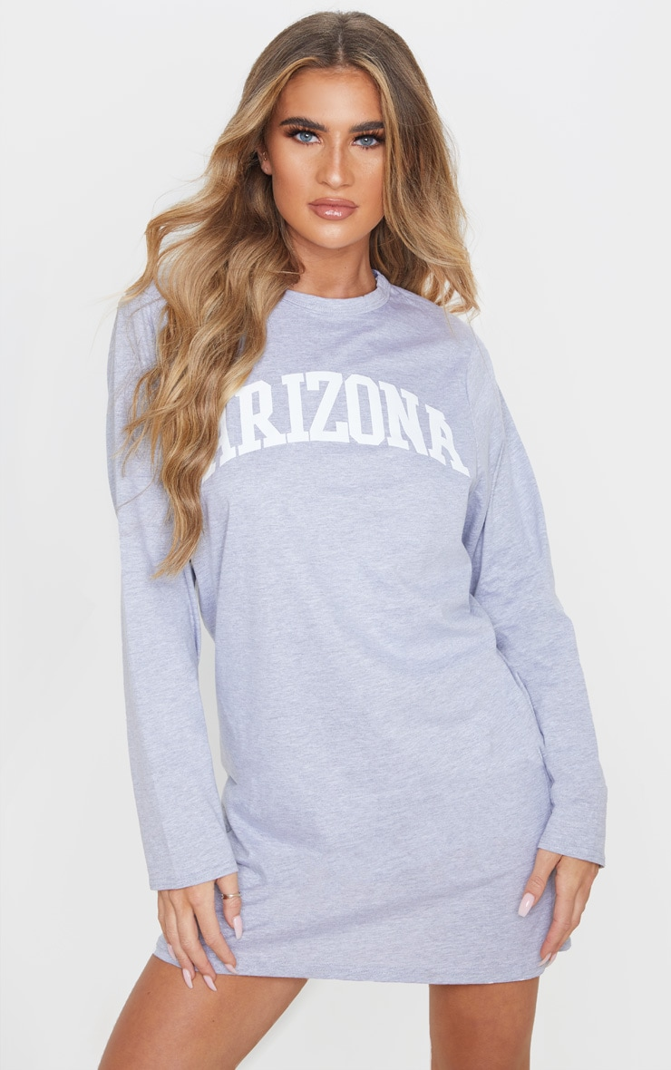 Grey Arizona Slogan Long Sleeve T Shirt Dress 1