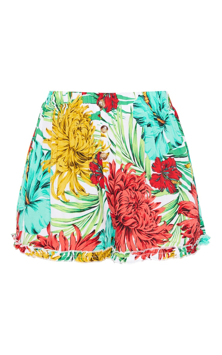 Green Tropical Frill Hem Button Beach Shorts 3