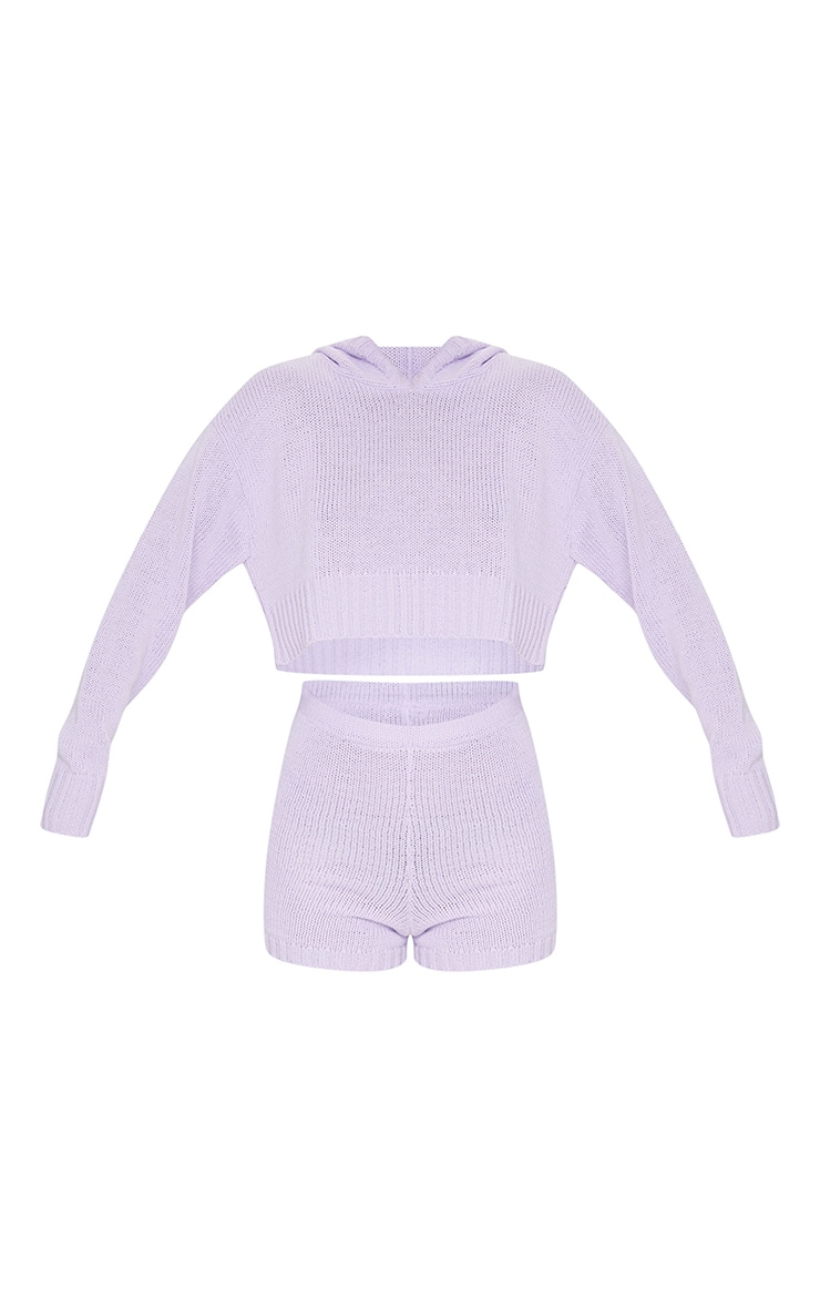 Lilac Deep Hem Knitted Hoodie And Short Set 5