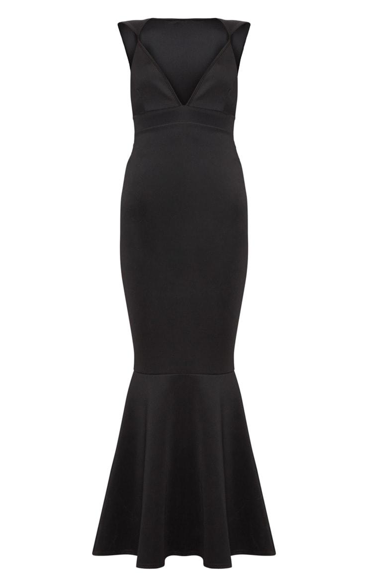 Robe longue noire effet queue de sirène avec détail bretelles et décolleté très plongeant  3