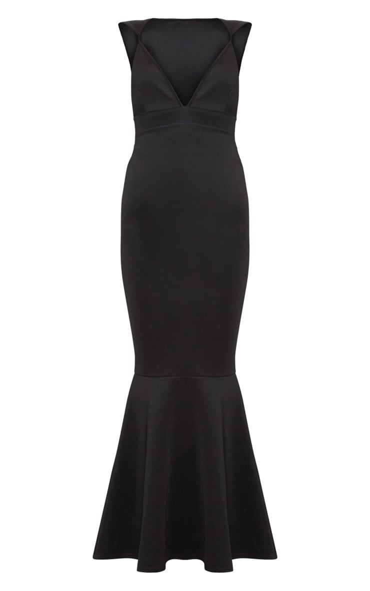 Black Extreme Plunge Shoulder Detail Fishtail Maxi Dress 3
