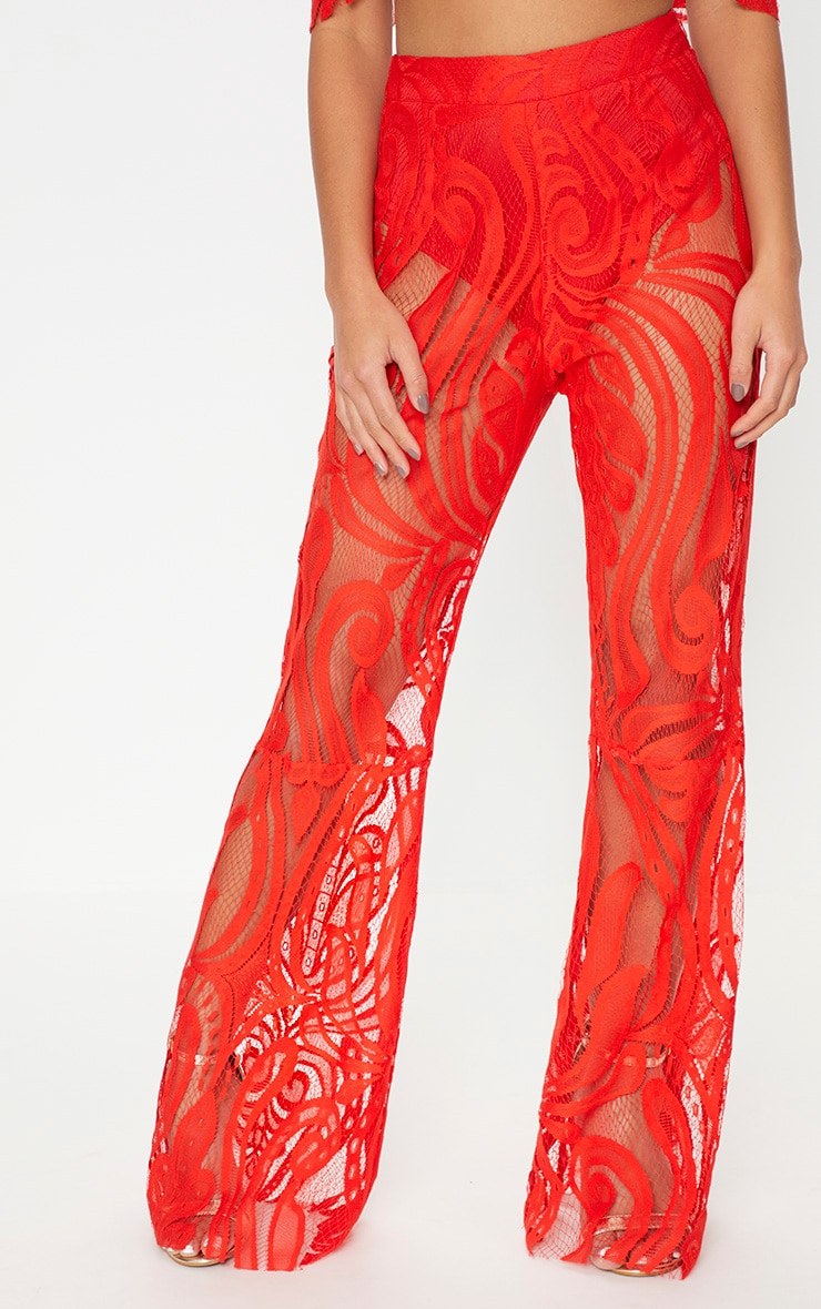 Petite Red Lace Flared Trousers 2