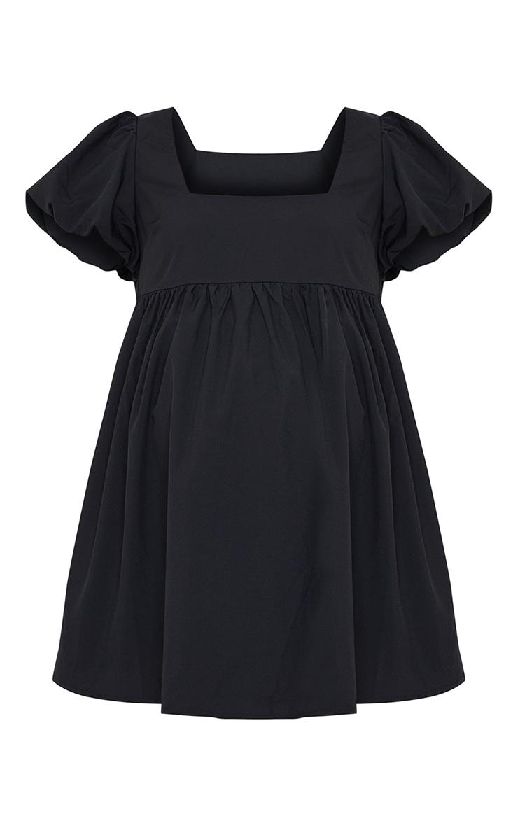 Maternity Black Short Puff Sleeve Mini Dress 5