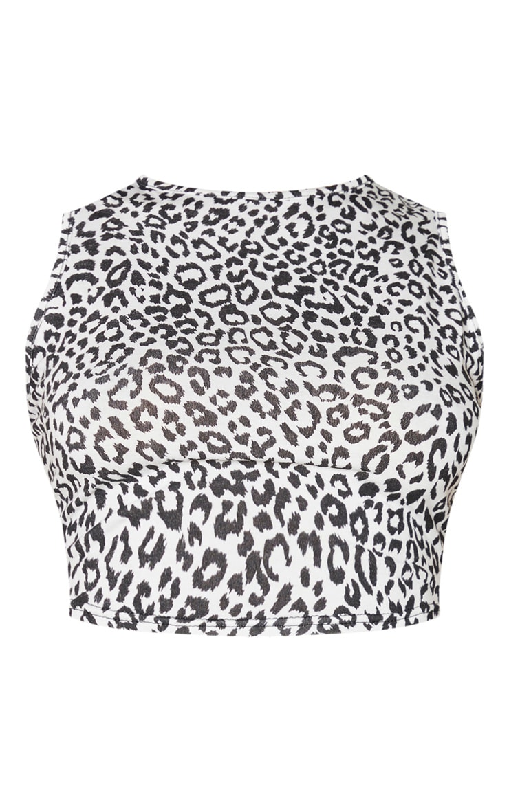 White Jersey Leopard Print Racer Crop Top 5
