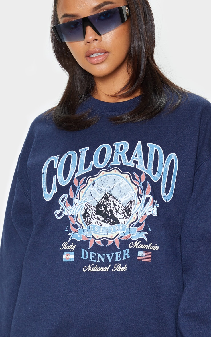 Navy Colorado Slogan Sweater 5