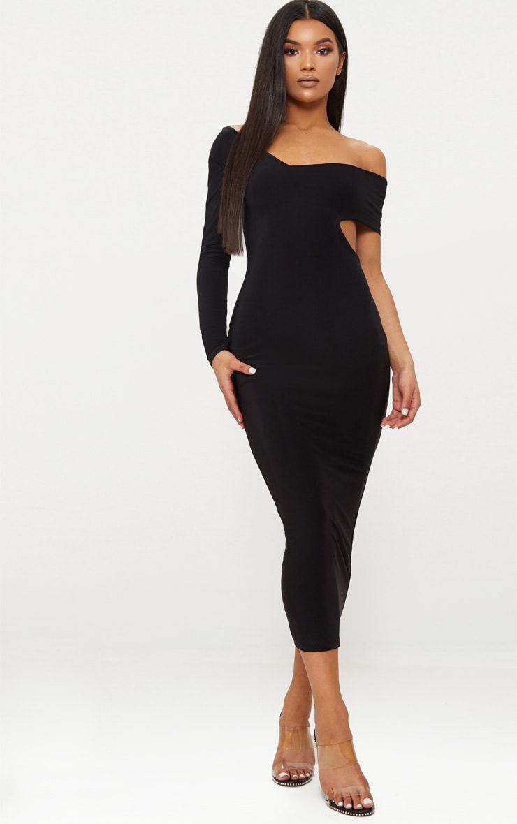 Black Double Layer Slinky One Sleeve Strap Detail Midaxi Dress 1