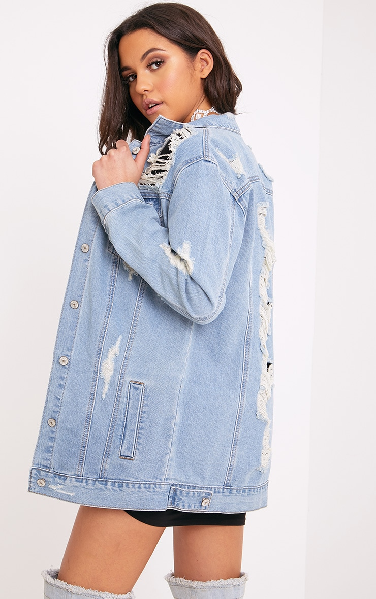 Glory Light Wash Distressed Long Line Denim Jacket 2