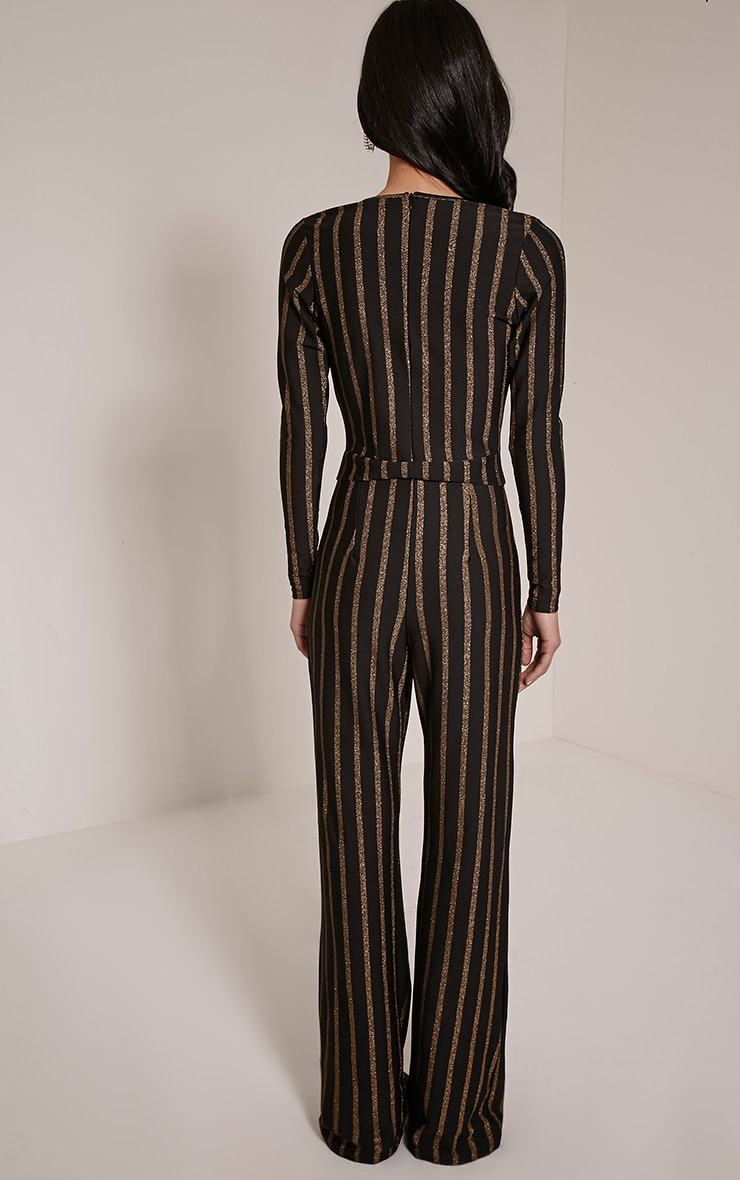 Arrie Gold Stripe Plunge Jumpsuit 2