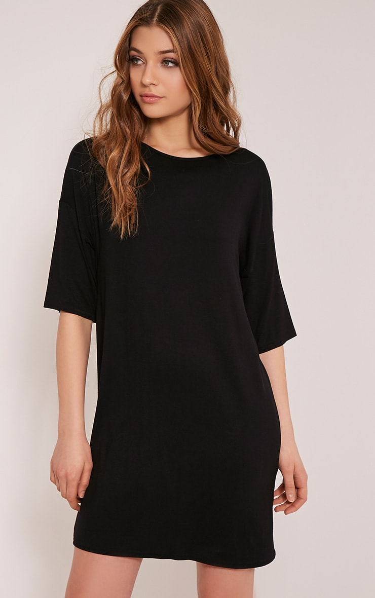 Basic Black Drop Shoulder T Shirt Dress 1
