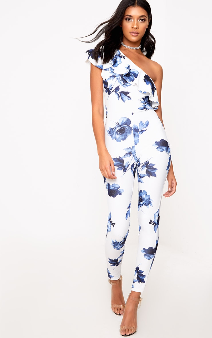 6a789053046 White Blue Floral One Shoulder Jumpsuit image 1