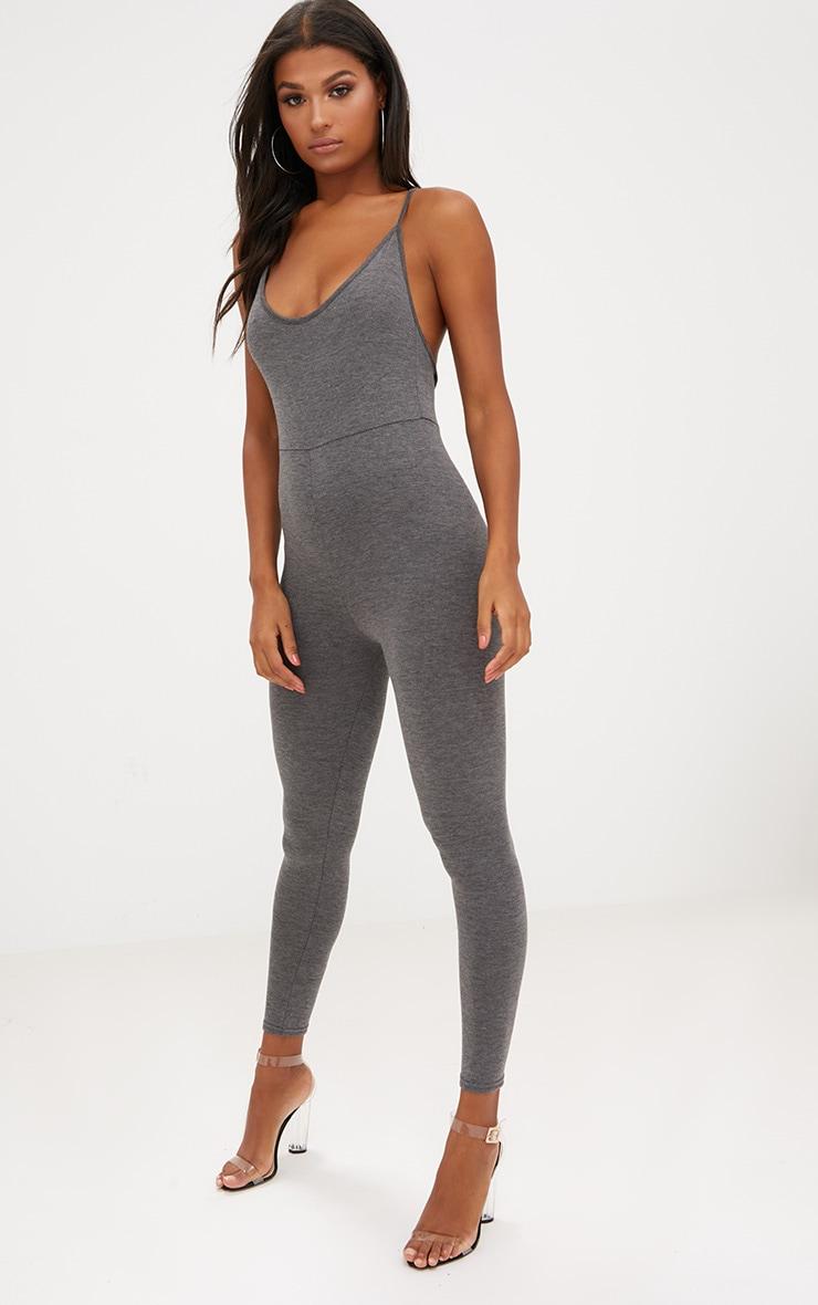 Charcoal Jersey Low Back Jumpsuit 4
