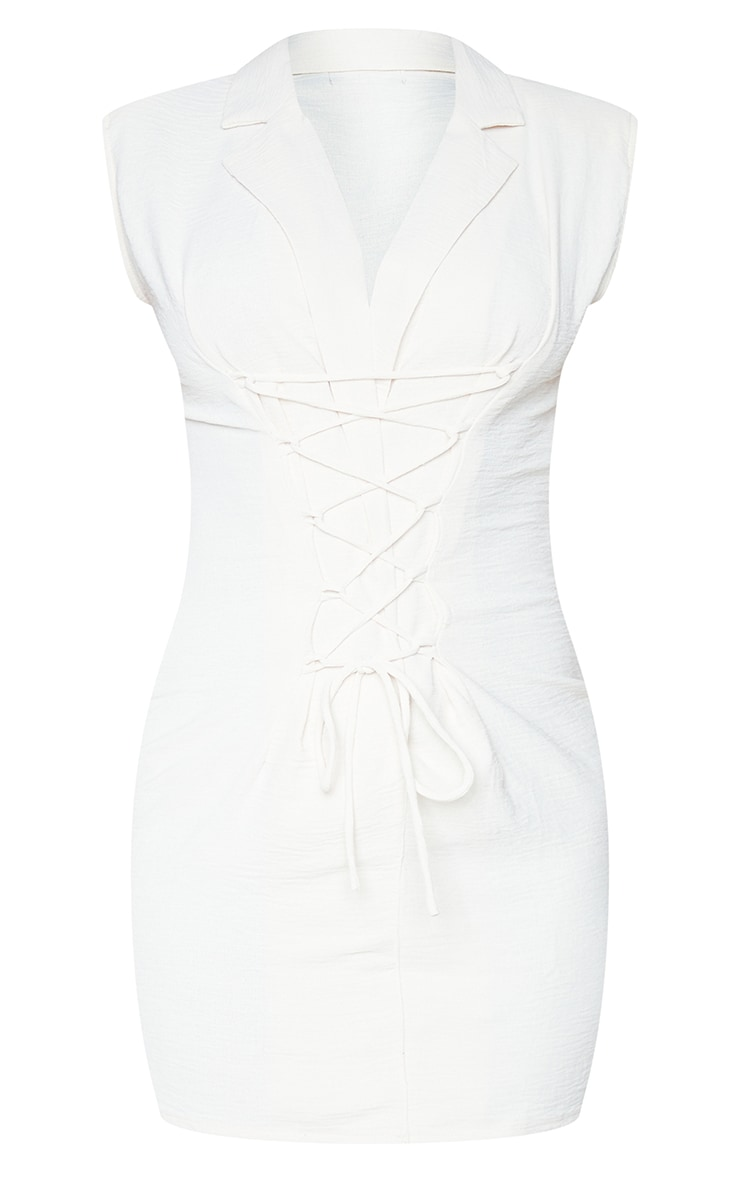 Cream Linen Look Shoulder Pad Lace Up Sleeveless Bodycon Dress 5