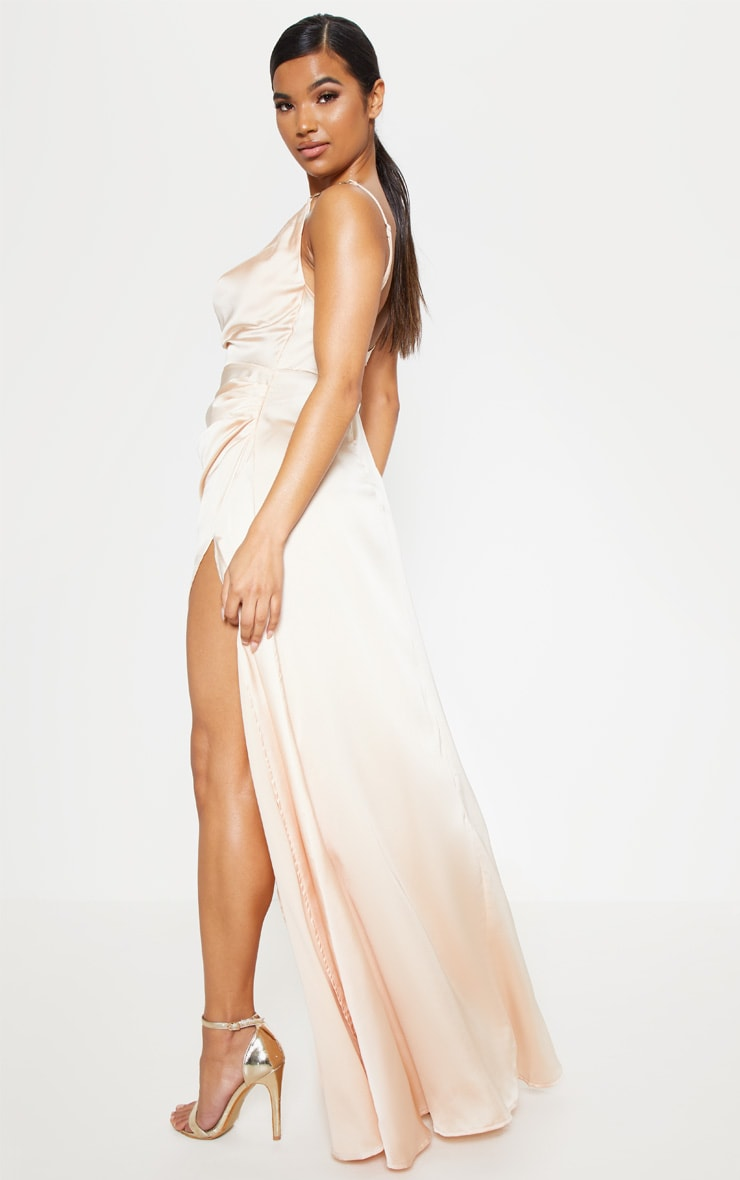 Champagne Satin Cowl Gold Snake Buckle Detail Maxi Dress 2