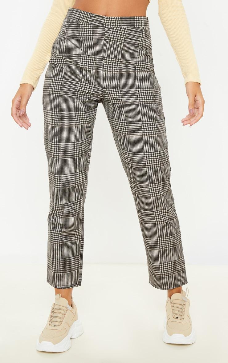 Pantalon cigarette en maille tissée à carreaux gris 2