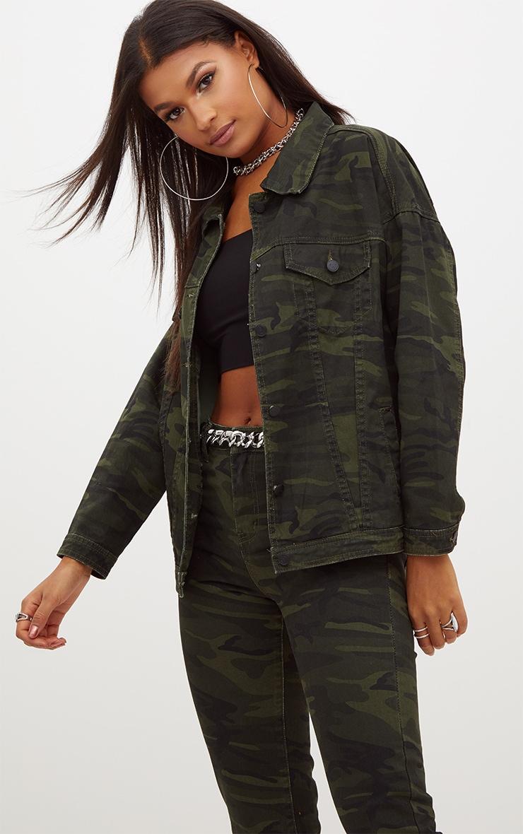 Khaki Oversized Camouflage Denim Jacket 1