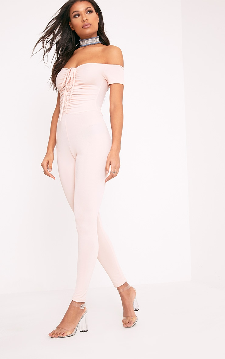 Jazlyn Nude Ruched Front Jumpsuit 5