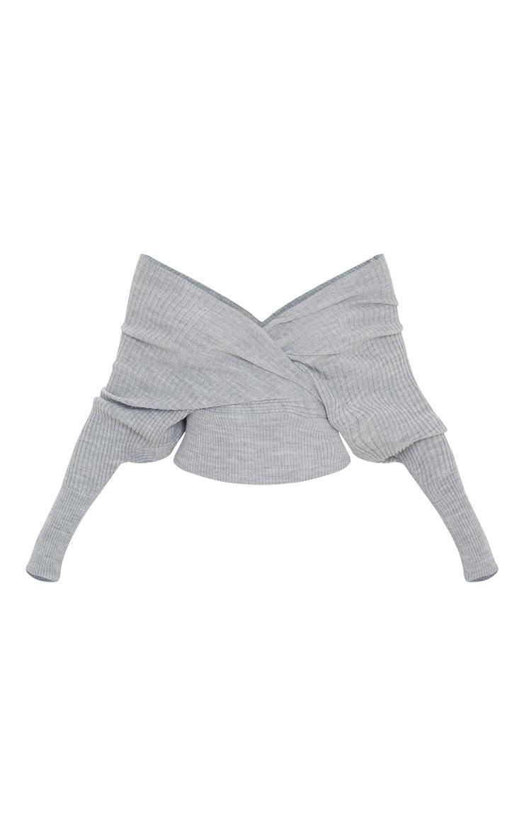 Grey Wrap Off The Shoulder Jumper 3