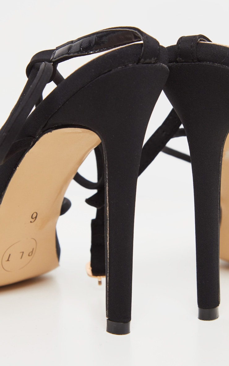 Black Strappy Point Toe Sandal 4
