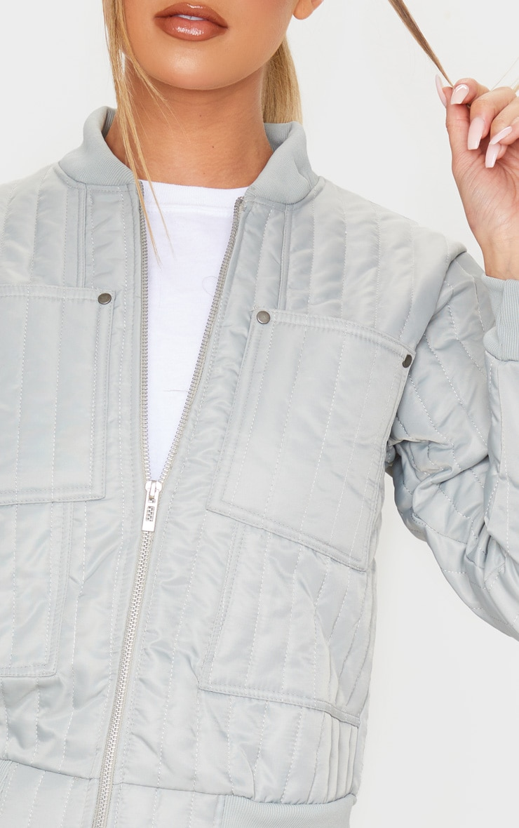 Grey Quilted Zip Through Bomber Jacket 5