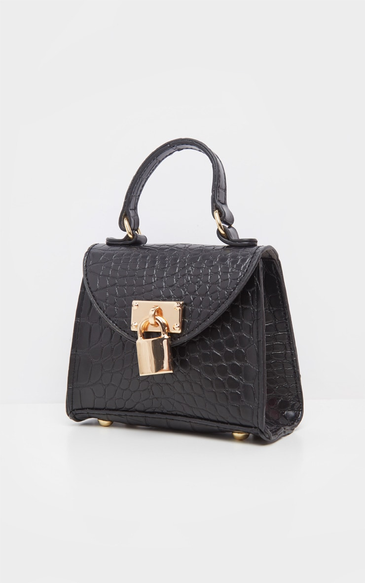 Black Croc Padlock Micro Mini Bag 2