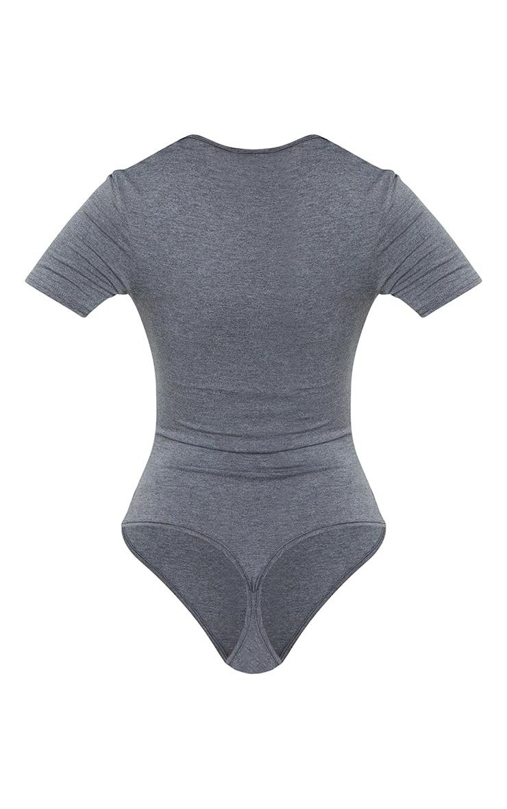 Tall Charcoal V Neck Short Sleeve Thong Bodysuit 6