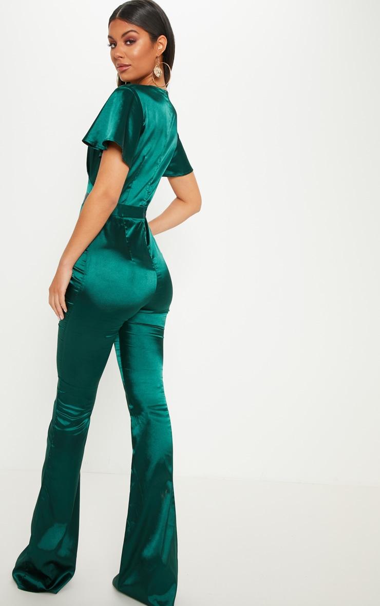 Emerald Green Satin Button Detail Flared Leg Jumpsuit 2